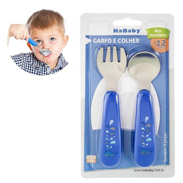 Garfo e Colher Para Bebês Acima de 12 Meses Aço Inoxidavel Inox Baleia Azul Kababy