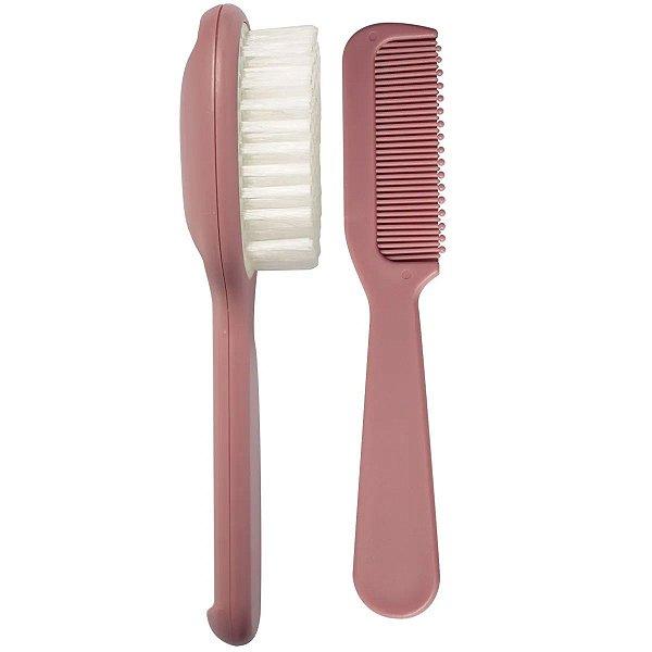 Kit Higiene Bebê Escova e Pente de Cabelo Cerdas Macias +0 Meses Kababy Rosa