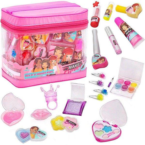 Bolsa Kit de Maquiagem Infantil Make Brinq com 19 Itens +3 Anos Polibrinq