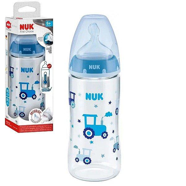 Mamadeira de Bebê Nuk Anticólica com Controle de Temperatura Azul 300ml Tam.2