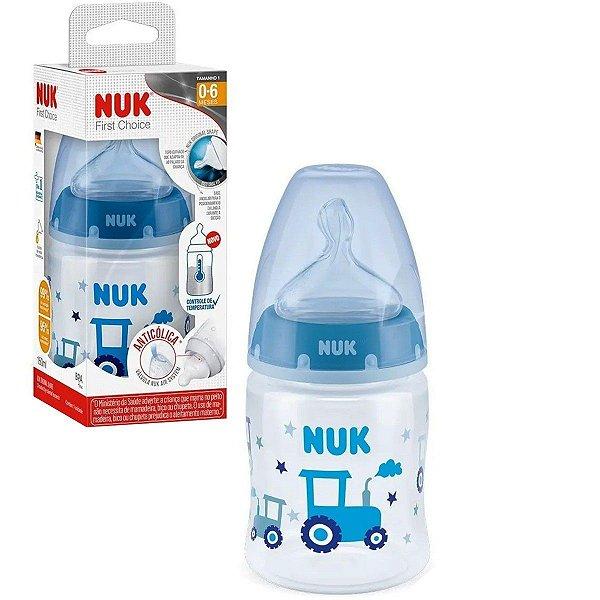 Mamadeira de Bebê Nuk Anticólica com Controle de Temperatura 150ml Tam.1 Azul