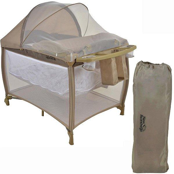 Berço de Bebê com Trocador e Mosquiteiro De 0 a 15kg com 2 Alturas New Aconchego Bege - Burigotto