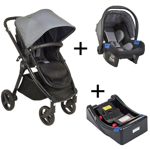Carrinho de Bebê Passeio 3 em 1 Travel System Moises + Bebê Conforto Touring X +  Base Soul Burigotto Gray Black