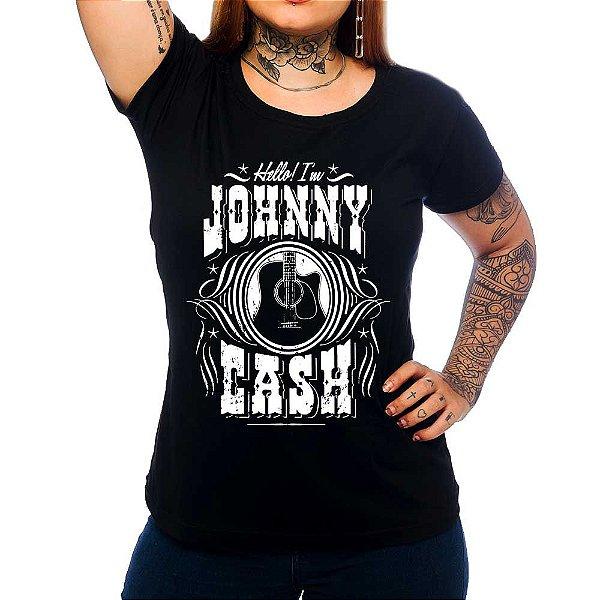 Camiseta Feminina  Johnny  Cash - Hello