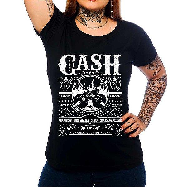 Camiseta Feminina  Johnny  Cash - Est 1955