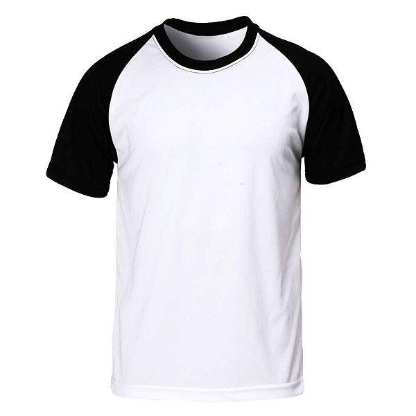 Camiseta Raglan Lisa Masculina Malha Penteada Confort - Branca