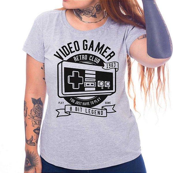 Camiseta Feminina Video Gamer Retro Club