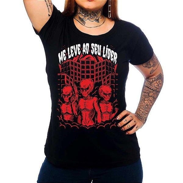 Camiseta Feminina Me Leve ao Seu Lider