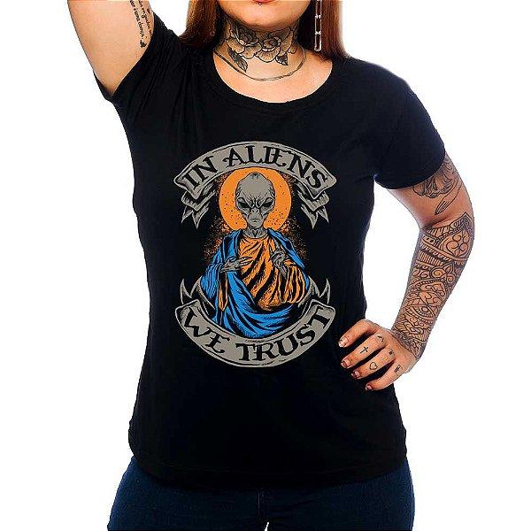 Camiseta Feminina In Aliens We Trust - Preta - P