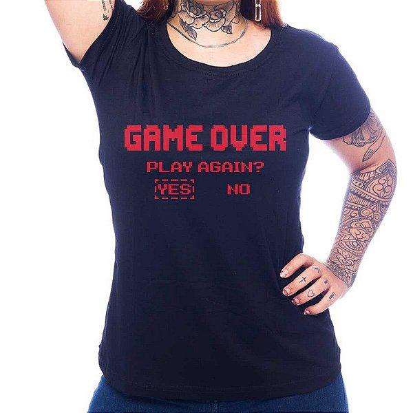 Camiseta Feminina Game Over - Preto - M