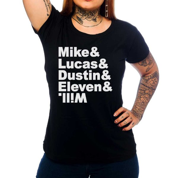 Camiseta Feminina Stranger Things Friends - Preto - M