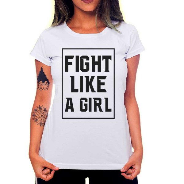 Camiseta Feminina Fight Like a Girl - Branco - G
