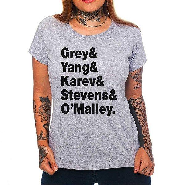 Camiseta Feminina Grey's Anatomy letters - Cinza - P