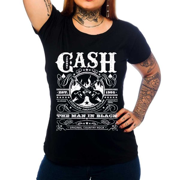 Camiseta Feminina Johnny Cash 1959 - Preto - GG