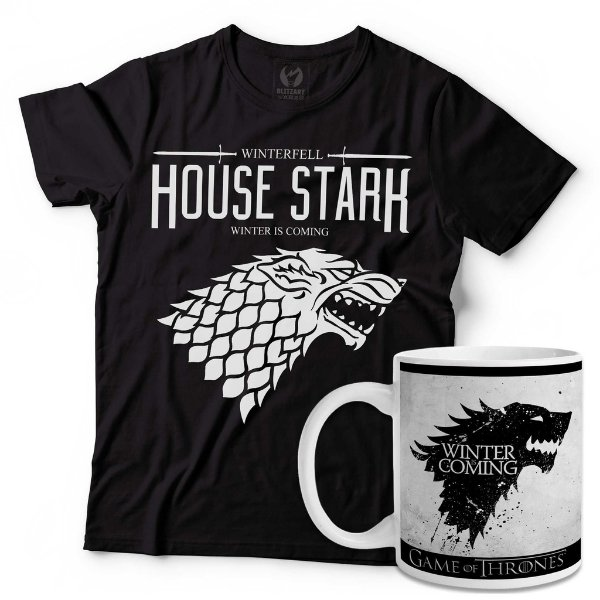 Kit Camiseta Game of Thrones Stark + Caneca Winter is Coming