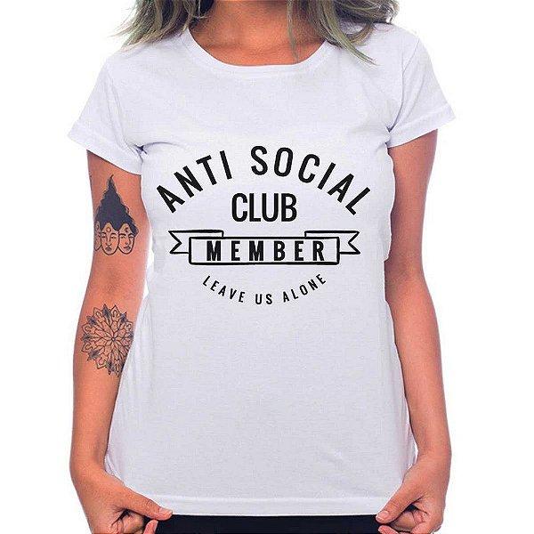 Camiseta Feminina - Anti Social - Branca - GG