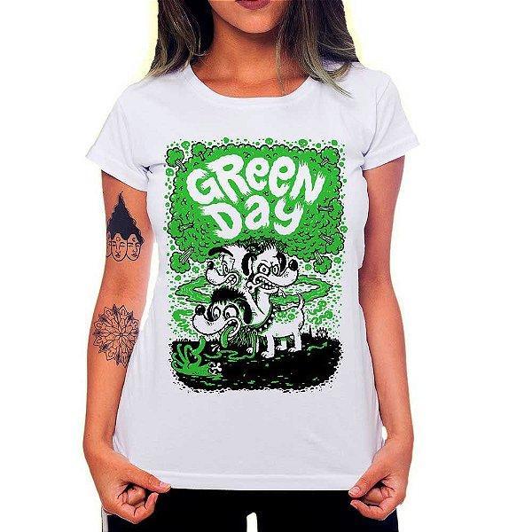 Camiseta Feminina - Green Day Dog - Branca - M