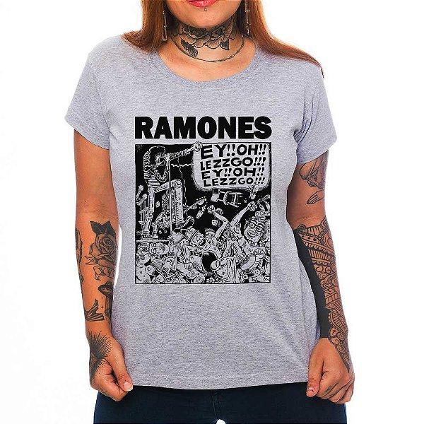 Camiseta Feminina - Ramones - Cinza - M
