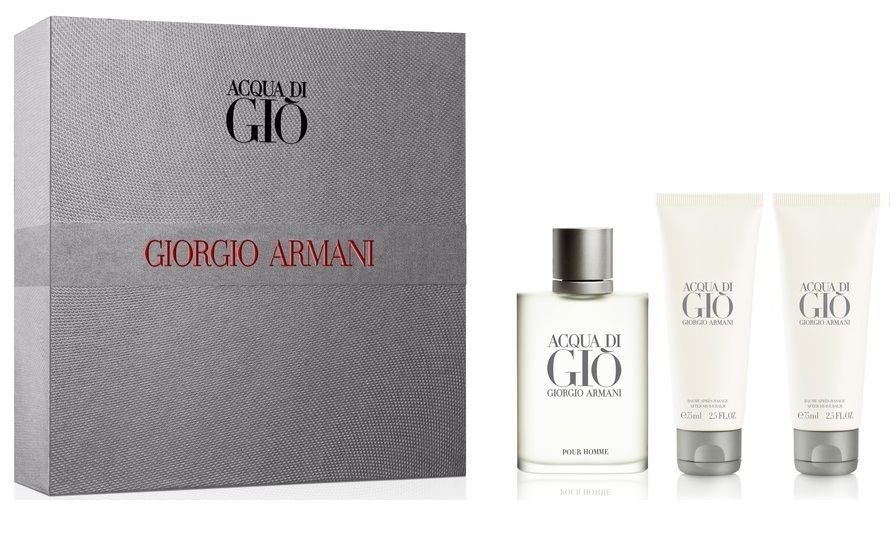 Kit Acqua di Gió Masculino 50ml + Gel de Banho 75ml + Pós Barba 75ml