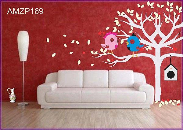 Adesivo Decorativo Árvore E Casal De Pássaros