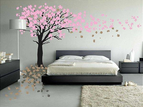 Adesivo de Parede Árvore e Flores Voando