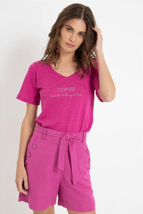 T-SHIRT COFFE - ROSA   REF: 1398