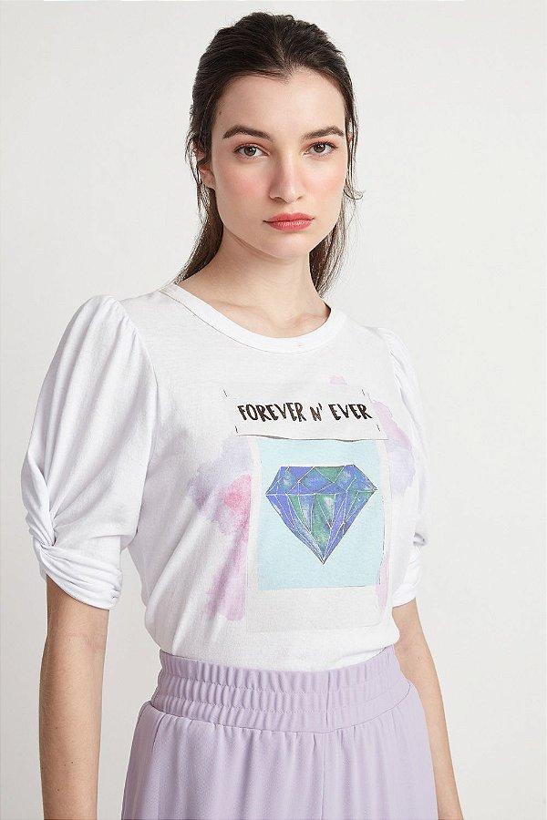 T-SHIRT DIAMOND - BRANCO | REF: V2MATS36
