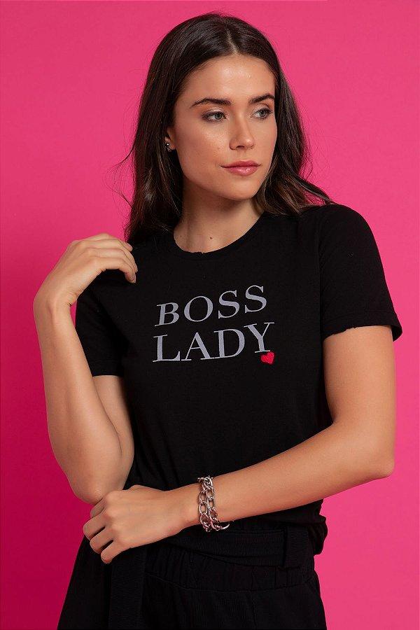 T-SHIRT LADY BOSS - PRETO | REF: 1267