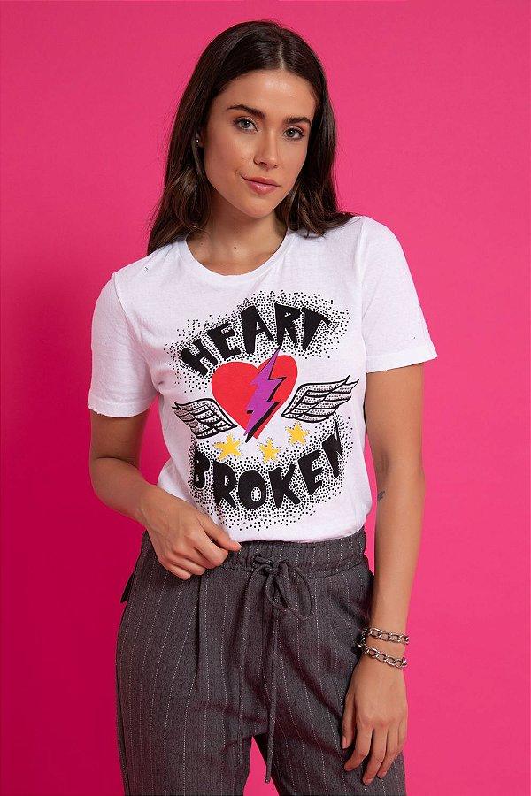 T-SHIRT HEART BROKE - BRANCO | REF: 1268