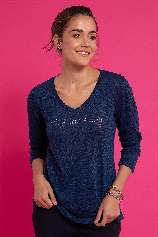 T-SHIRT BRING THE WINE - MARINHO | REF: 1204