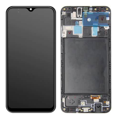 GABINETE FRONTAL DISPLAY LCD TOUCH SCRENN SAMSUNG A205 GALAXY A20 PRETO C/ ARO 1ªLINHA (QUALIDADE INCELL)