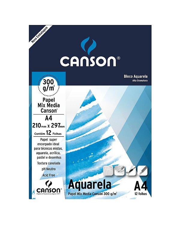 Bloco Aquarela 300G A4 12Folhas Canson