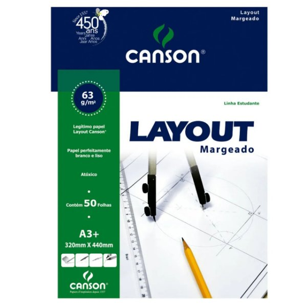 Bloco Layout Canson Margeado A3+ 63g 50f