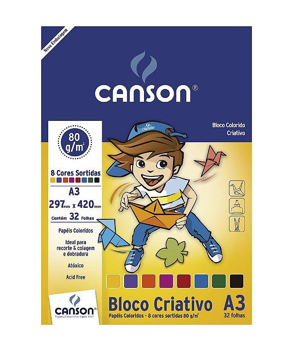 Bloco Criativo A3 80G 32F 8 Cores Canson