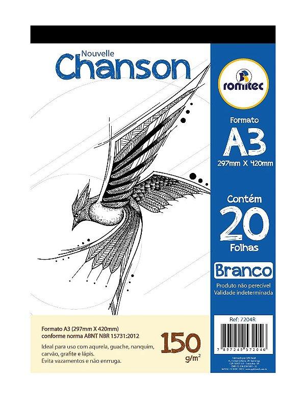 Bloco Desenho A3 150G 20F Branco Chanson Romitec