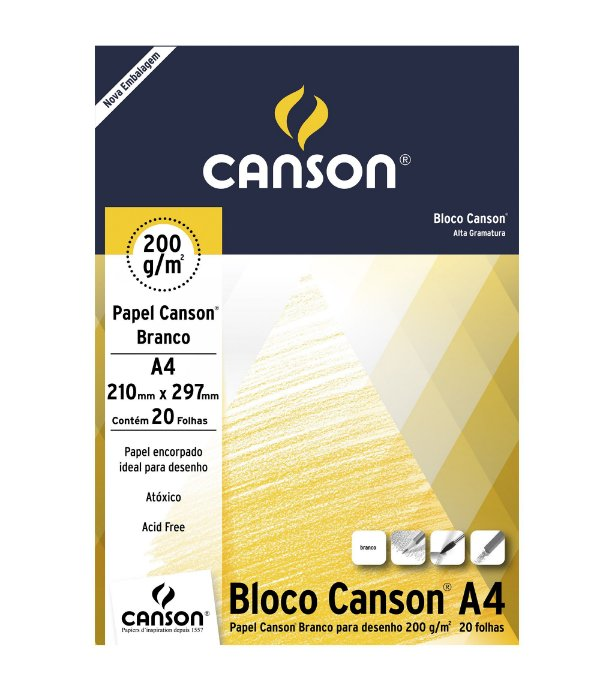Bloco Desenho Canson A4  210mm X 297mm 200G 20F Branco