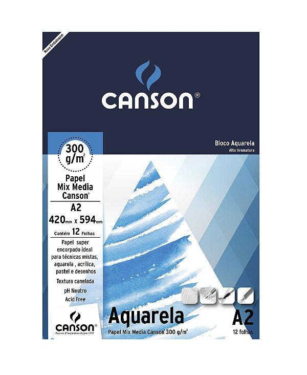 Bloco Aquarela 300G A2 12Folhas Canson