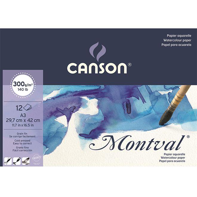 Bloco Aquarela Montval T Fina A3 12Folhas 300G Canson