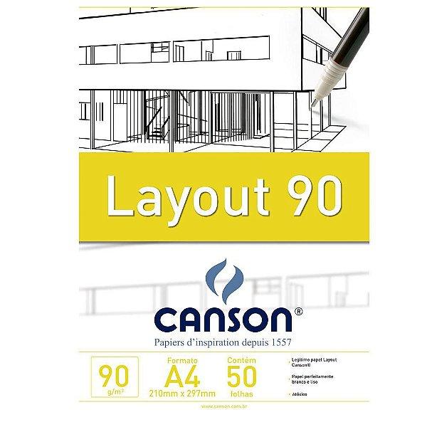 Bloco Layout 90g Técnico Canson S/ Margem A4 50 Folhas