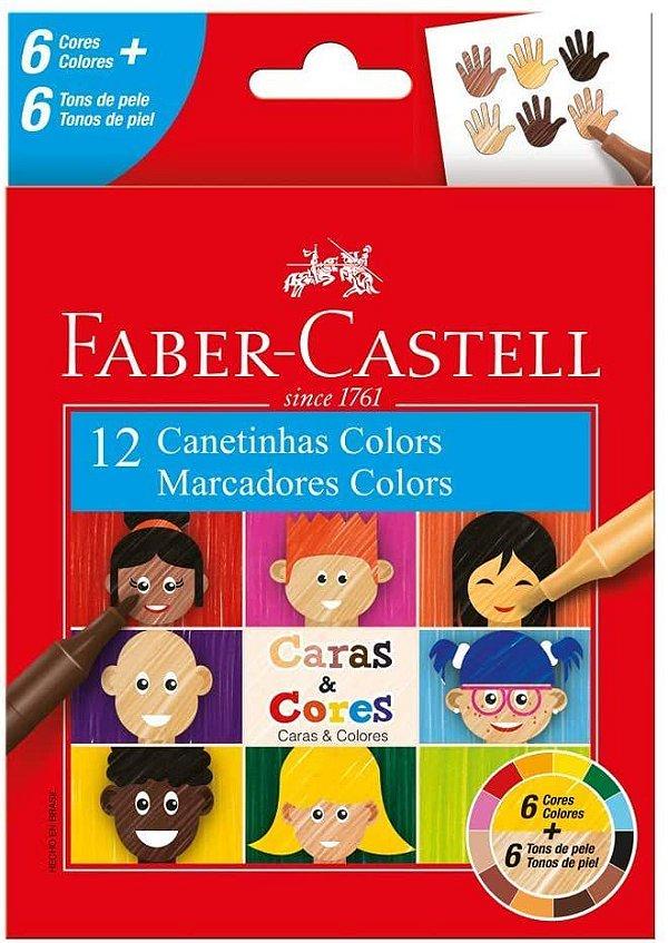 Canetinha Hidrográfica Faber-Castell Caras & Cores 6 Cores + 6 Tons de Pele