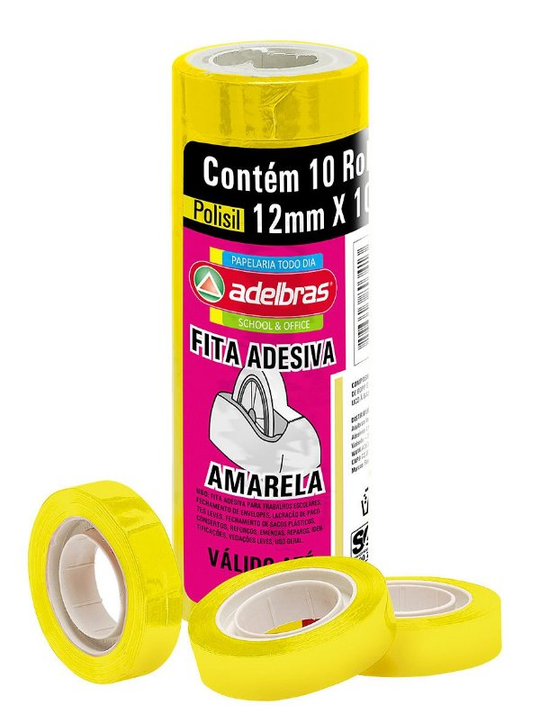 Fita Adesiva Colorida Amarela 12mm X 10M Adelbras