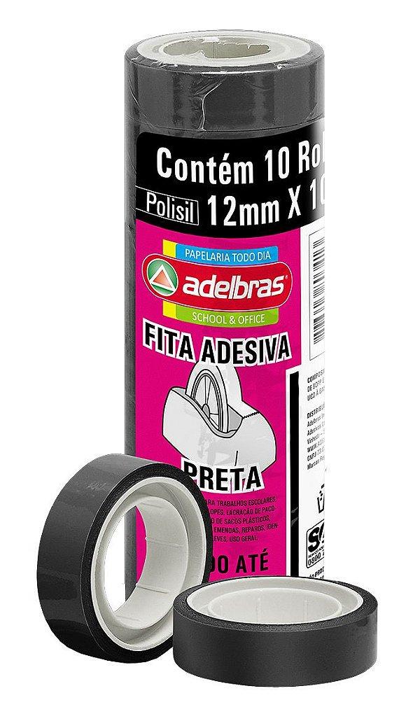 Fita Adesiva Colorida Preta 12mm X 10m Adelbras