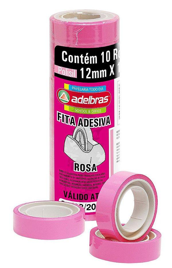 Fita Adesiva Colorida Rosa 12mm X 10m Adelbras