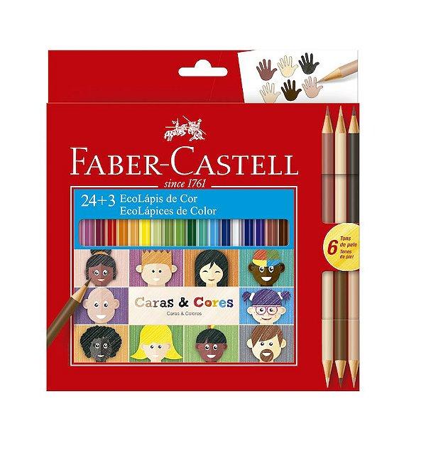 Lápis de Cor 24 Cores + 3 Lápis Bicolor Caras e Cores tons de Pele Faber Castell