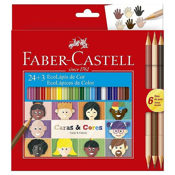 Lapis de Cor 24 Cores + 3 Lápis Bicolor Caras e Cores tons de Pele Faber Castell