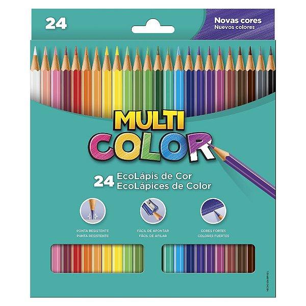 Lápis de Cor 24 Cores Super Ponta Multicolor