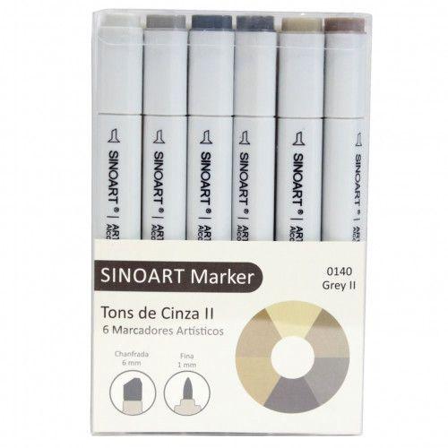 Marcador Artístico Sinoart Marker 06 Cores Tons de Cinza II