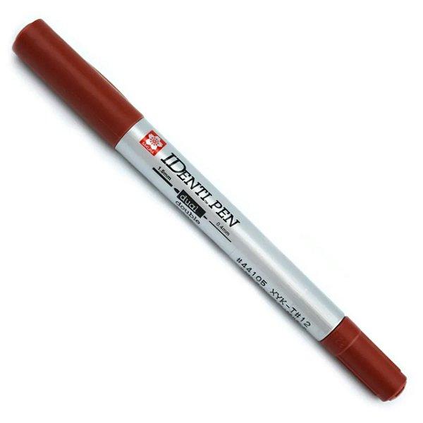 Marcador Permanente Identi Pen Ponta Dupla 0.4mm e 1.0mm - Marrom