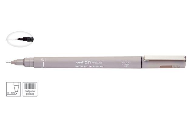 Caneta Nankin Uniball Uni Pin Fine Line - Cinza Claro