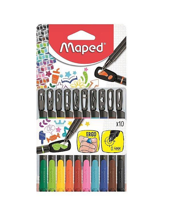 Caneta Colorida 0.4mm Maped Fineliner Graph Peps Mania c/ 10 Cores